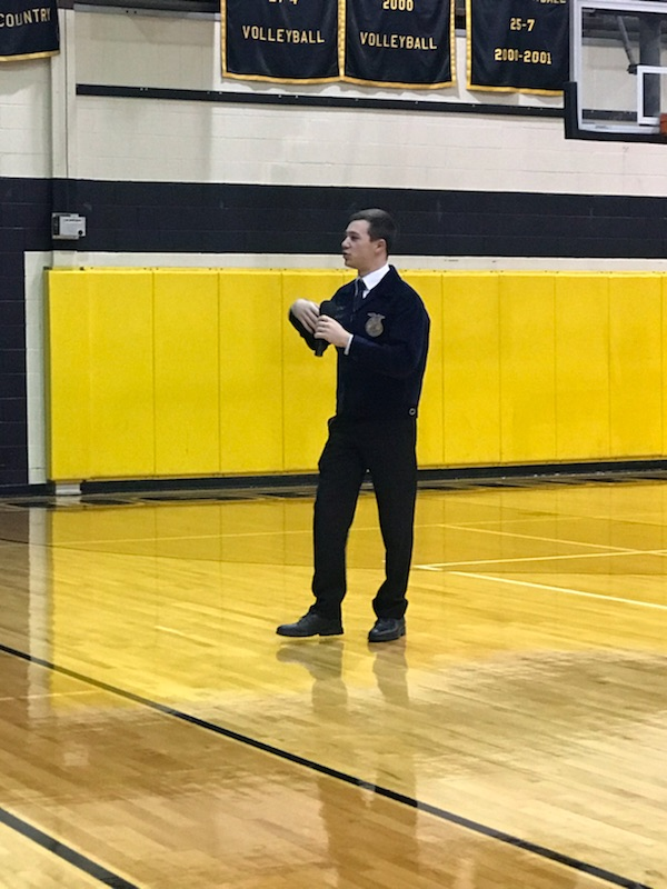 Cory Sunkile, Texas State FFA President, speaks to the high school students about FFA and leadership characteristics.