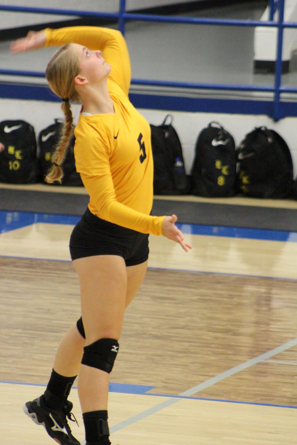 Christa Niemeyer serves the ball during the bi-district game with Mart.