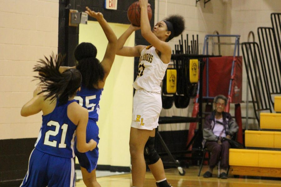 Erakah Easley goes up for the shot in the Lady Cougars win over district rival Chilton.