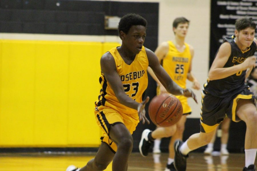 Nathan Truesdale dribbles the ball down the court.