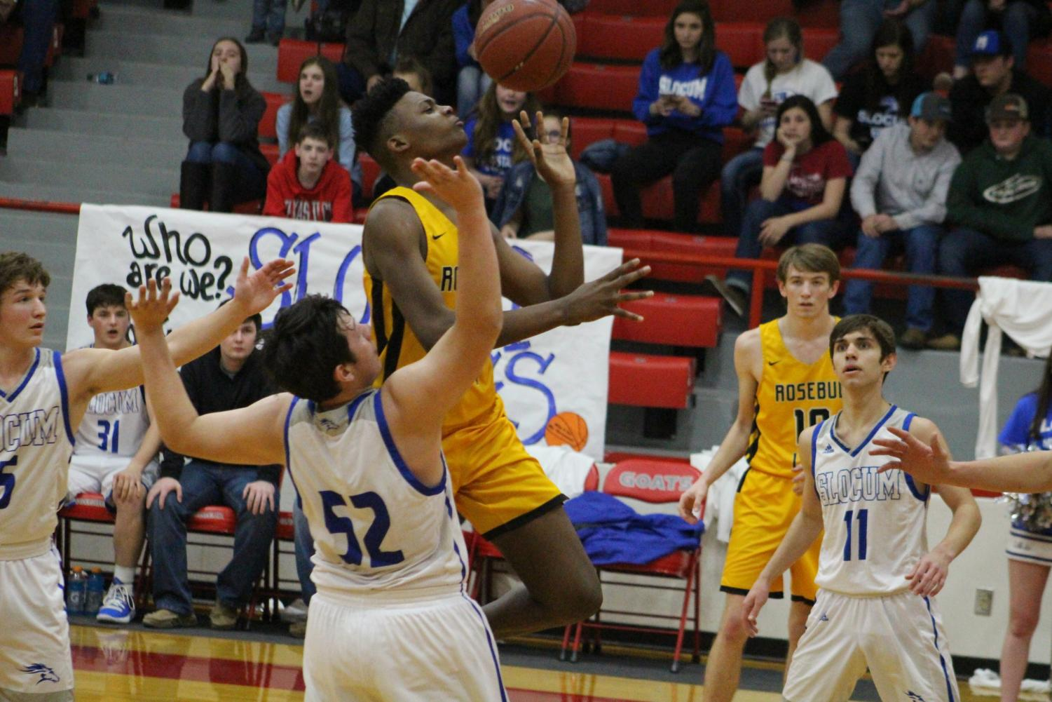 Steven Buhl goes up for a shot during the Cougars' loss to Slocum in the area playoffs.