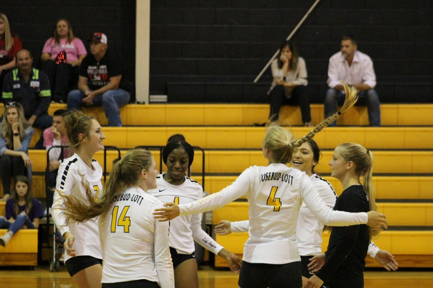 The Lady Cougars link arms during a match.