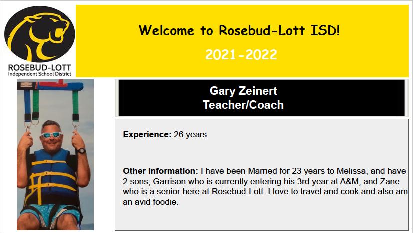 Welcome Coach Zeinert